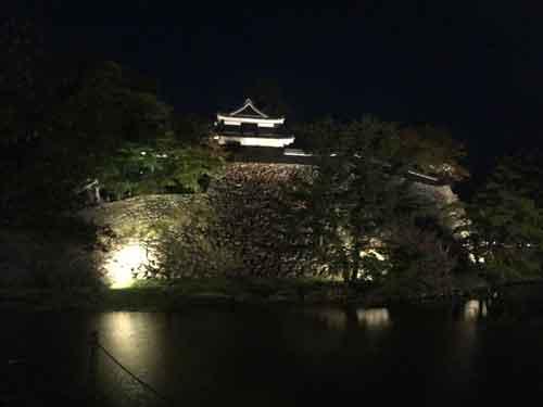 夜のライトアップされた松江城