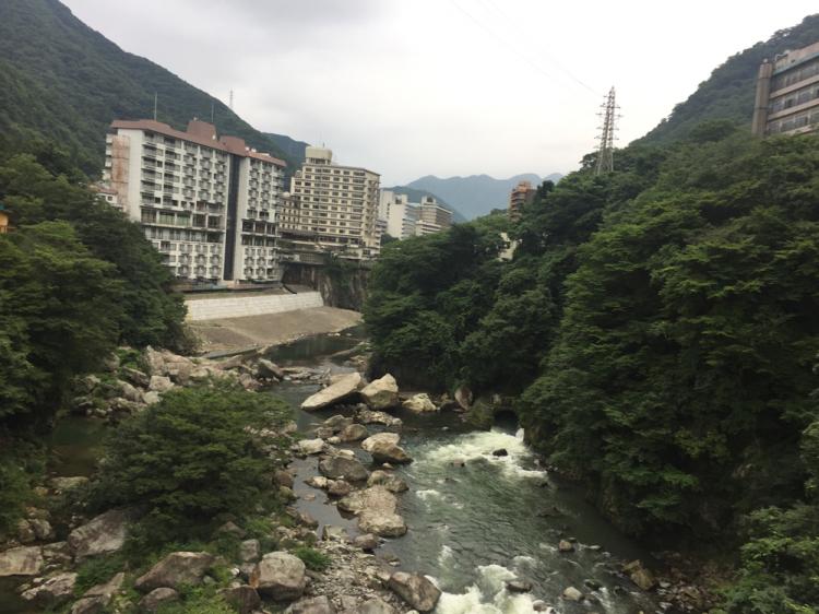 鬼怒川ふれあい橋からの景色