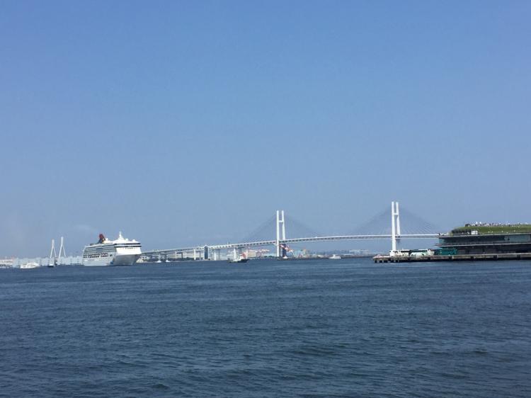 赤レンガ倉庫付近からみた横浜ベイブリッジ等横浜港の景観